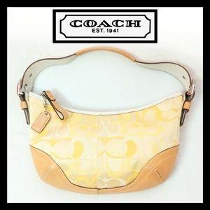 Coach Signature Yellow Leather Canvas Shoulder Bag